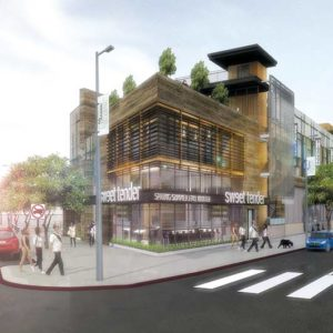 The project at 8550 Santa Monica Blvd. near West Knoll Drive will have a Sprouts Market, office space and café. It is expected to help reenergize the south side of the boulevard. (rendering by DLR Group)