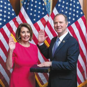 House Speaker Nancy Pelosi administered the oath of office to Congressman Adam Schiff on Jan. 3 at the beginning of his 10th term in Congress. (photo courtesy of Congressman Adam Schiff's office)