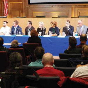 Nine out of 11 candidates who will appear on the March 5 ballot for City Council shared their views on public safety, cannabis and other issues. (photo by Luke Harold)