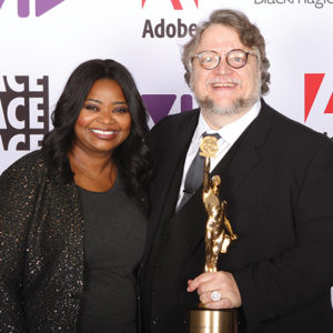 Actress Octavia Spencer presented the American Cinema Editors Golden Eddie honor to filmmaker Guillermo del Toro in celebration of his career. (photo courtesy of Perception PR)