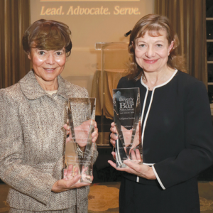 Justice Audrey B. Collins (left) and Kelli Sager were recognized with awards from the Beverly Hills Bar Association. (photo by Lee Salem)