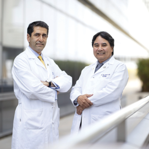 Cardiothoracic surgeon Dr. Fardad Esmailian (left) and Dr. Jon Kobashigawa, director of the heart transplant program, are part of the Cedars-Sinai team that led the country in adult heart transplants in 2018. (photo courtesy of Cedars-Sinai)