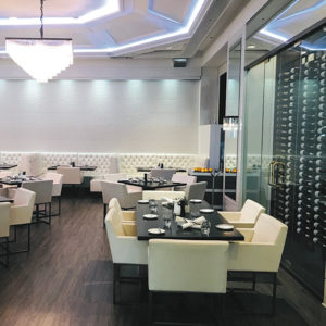 The white interior at Mari is bright and elegant. (photo by Jill Weinlein)