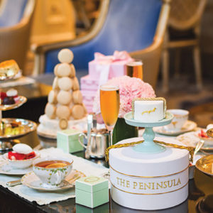 The Peninsula Beverly Hills' new special with Ladurée Paris includes Tahitian vanilla and Egyptian chamomile teas with a new cake inspired by the hotel's pages that welcome guests. (photo courtesy of Murphy O'Brien Public Relations)