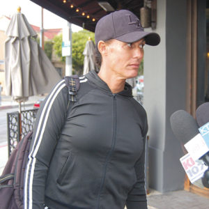 Zhoie Perez spoke to reporters on Feb. 14 after she was shot by a security guard outside a temple on Beverly Boulevard. (photo by Edwin Folven)