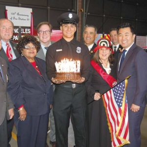 Community members joined LAFD personnel at the dedication of a new garden at Fire Station 29. They included former Councilman Tom LaBonge (second from left); Lyn MacEwen Cohen, president of First-In Fire Foundation (fourth from right); and Councilman David Ryu (second from right), 4th District. (photo by Edwin Folven)