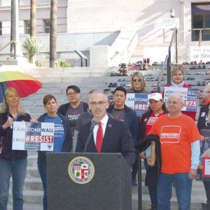 Councilman Mitch O'Farrell discussed the city's ordinance requiring contractors to disclose ties to the NRA at a rally with gun violence prevention advocates at City Hall. (photo by Edwin Folven)