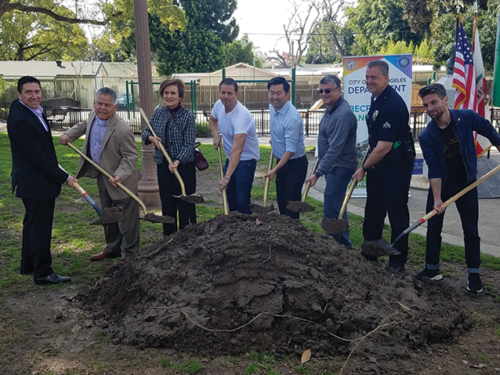Councilman David Ryu, 4th District, residents and parks department officials broke ground in March on improvements to De Longpre Park in Hollywood. (photo by Cameron Kiszla)
