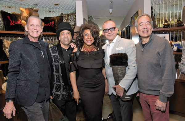 Jeffrey Lehman (left), of Edwards-Lowell, joined Sir Keith Holman; Mary Wilson, of The Supremes; Pasquale Fabrizio; and Paul Matsumoto, of Edwards-Lowell, at an event showcasing celebrity costumes and outfits. (photo by William Kidston)