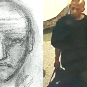 Authorities have released a sketch and security camera photograph of the suspect wanted for allegedly raping a woman at the Vermont/Sunset subway station. (photo courtesy of the LAPD)