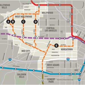 A March 28 community meeting hosted by Metro went over the five potential routes for an extension of the Crenshaw/LAX Line. (map courtesy of the West Hollywood West Residents Association)