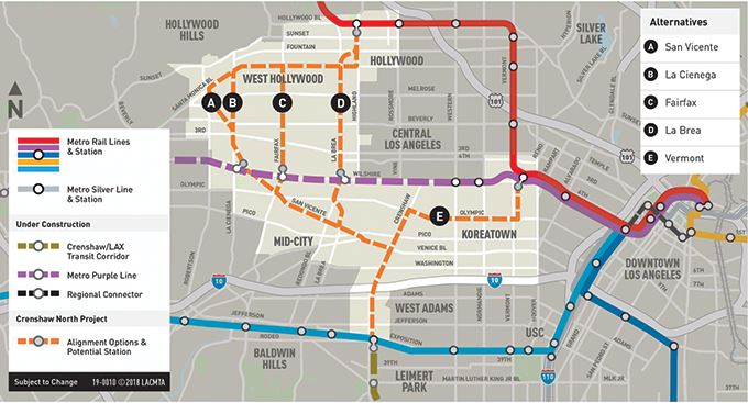 A March 28 community meeting hosted by Metro will discuss the five potential routes for an extension of the Crenshaw/LAX Line. (map courtesy of the West Hollywood West Residents Association)