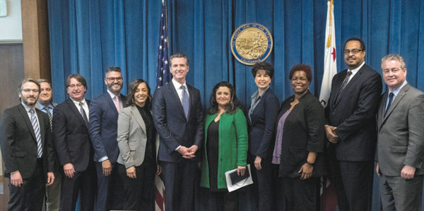 Gov. Gavin Newson was joined by representatives from the California Charter School Association, California Teachers Association, California School Employees Association, the California Federation of Teachers and SEIU California for the signing of SB 126, which creates uniform statewide transparency standards for all schools. (photo by Joe McHugh, California Highway Patrol)