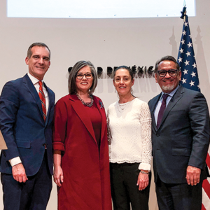 Los Angeles Mayor Eric Garcetti, Los Angeles City Councilwoman Monica Rodriguez, 7th District, Mexico City Mayor Claudia Sheinbaum and Los Angeles Councilman Gil Cedillo, 1st District, celebrated 50 years of Los Angeles and Mexico City being sister cities. (photo courtesy of Mayor Eric Garcetti)