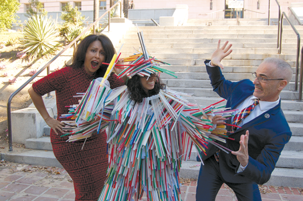 "Councilman Mitch O'Farrell and Councilwoman Nury Martinez posed for photos with Heal the Bay's ""Mon-straw-city"" at a press conference last fall on the Plastic Straws on Request ordinance. (photo by Edwin Folven)"