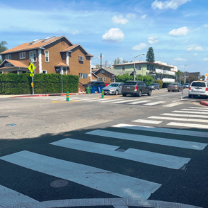 Safety improvements on Fountain Avenue include flashing lights at crosswalks that are activated by pedestrians. (photo courtesy of the city of West Hollywood)