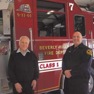 Beverly Hills Fire Department Deputy Fire Marshal Chris Heyer (right) and Les Bronte, training center manager for Beverly Hills CPR, oversee emergency preparedness programs for the city. (photo by Edwin Folven)