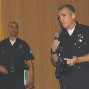Capt. Anthony Oddo, commanding officer of the Wilshire Division, discussed crime prevention at a meeting hosted by the Greater Wilshire Neighborhood Council. He will be leaving the Wilshire Division in May after being reassigned to the LAPD's Gang and Narcotics Division. (photo by Edwin Folven)