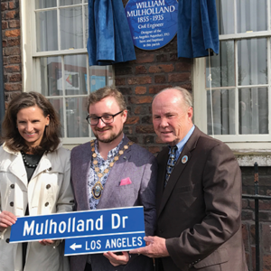 Former Councilman Tom LaBonge (right) joined U.S. Consul General Elizabeth Kennedy Trudeau and Deputy Lord Mayor of Belfast Emmet McDonough-Brown at a ceremony honoring William Mulholland in Northern Ireland. (photo courtesy of Tom LaBonge)