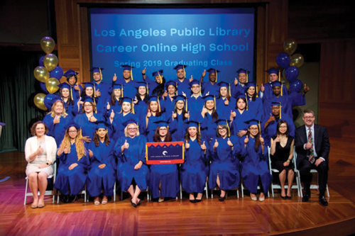 Students in the Los Angeles Library's Career Online High School program recently celebrated at a graduation ceremony. (photo courtesy of the Los Angeles Library)