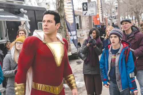"Zachary Levi stars as Shazam and Jack Dylan Grazier as Freddy Freeman in the new superhero film ""Shazam!"" (photo courtesy of Warner Bros. Pictures)"