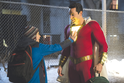 "Shazam (Zachary Levi) and his friend Freddy (Jack Dylan Grazier) share many fun moments in the new film ""Shazam!"" (photo courtesy of Warner Bros. Pictures)"