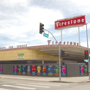 Plans have been approved for a former Firestone service center at Eighth Street and La Brea Avenue to be converted into a microbrewery. (photo by Edwin Folven)