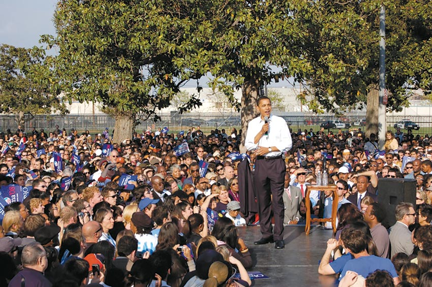 Then-Sen. Barack Obama appeared at a 2007 rally at Rancho Cienega Park, located near the road to be renamed Obama Boulevard on May 4. (photo by Edwin Folven)