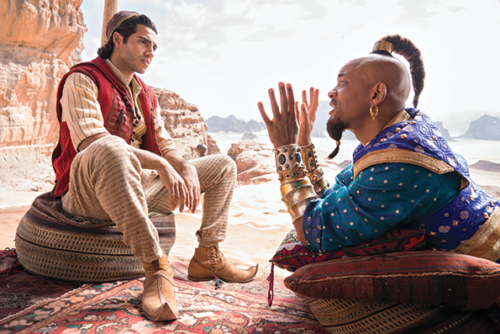 "Enterprises Mena Massoud appears as the title character and Will Smith portrays Genie in Disney's ""Aladdin,"" which plays through June 16 at the El Capitan Theatre in Hollywood. (photo by Daniel Smith/courtesy of © 2018 Disney)"