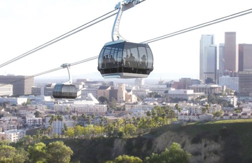 A gondola system between Union Station and Dodger Stadium will undergo an environmental impact study. (photo courtesy of Aerial Rapid Transit Technologies)