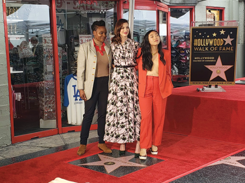 Director Dee Rees, actress Anne Hathaway, and actress and musician Awkwafina were in attendance May 9 to celebrate Hathaway's star on the Hollywood Walk of Fame. (photo by Cameron Kiszla)