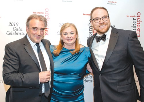 LACO Music Director Designate Jaime Martin (left) joined Margaret Batjer, who was honored for her 20 years as LACO concertmaster; and LACO Executive Director Scott Harrison at the orchestra's annual concert gala. (photo by Ben Gibbs)