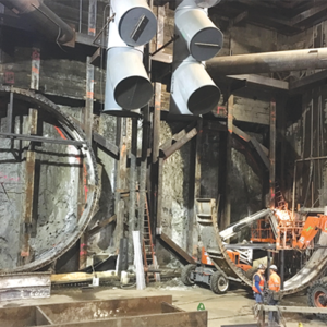 Work is progressing in the construction staging yards at Wilshire/La Brea, where twin tunneling machines will begin digging west toward Beverly Hills and Century City. (photo courtesy of Metro)