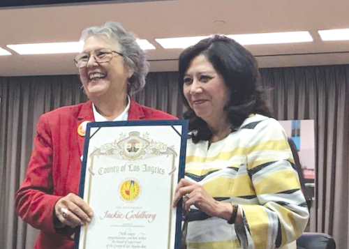 Los Angeles County Supervisor Hilda Solis recently honored Jackie Goldberg, who was approved by the LAUSD Board of Education as its 5th District representative. (photo courtesy of the LAUSD)