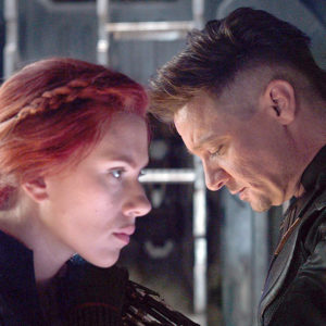"Scarlett Johansson plays Black Widow and Jeremy Renner portrays Hawkeye in ""Avengers: Endgame."" (photo courtesy of Marvel Studios)"