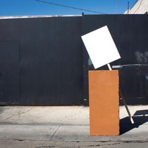 Juan Capistrán, Psychogeography Of Rage (the riot inside me raged on), fiberboard, paint, wood, mylar balloons, 2019. (photo courtesy of Juan Capistran)