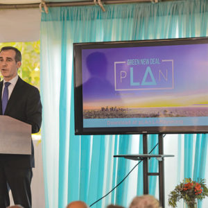 Mayor Eric Garcetti outlined goals of Los Angeles' Green New Deal, a program to make Los Angeles carbon-neutral by 2050. (photo courtesy of Mayor Eric Garcetti's office)