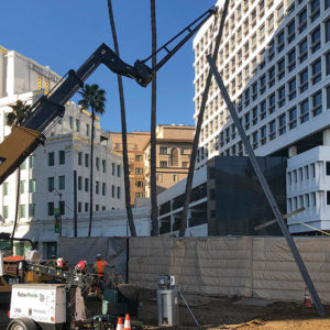 Earlier this year, Metro was constructing the staging yard at Wilshire/Reeves to support Wilshire/Rodeo Station construction, and inserting the piles to support the soundwalls.