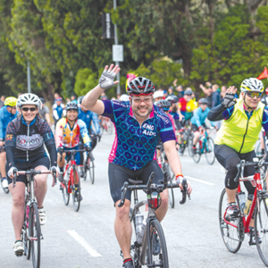 Thousands of cyclists will roll onto the Fairfax High School campus on June 8 at the finish line festival for the AIDS/LifeCycle ride. (photo courtesy of AIDS/LifeCycle)