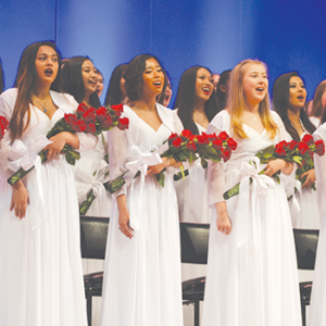 Immaculate Heart graduates sang the school's alma mater and other songs during commencement on June 5 at the Hollywood Bowl. (photo by Callie Webb)