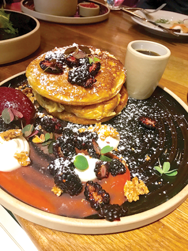 The buttermilk pancakes at Le Grand are exquisite during Sunday brunch service. (photo by Jill Weinlein)
