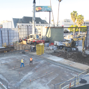 Crews are continuing construction work at the future Wilshire/Fairfax subway station, as well as at many other locations along the Purple Line extension route. (photo courtesy of Metro)