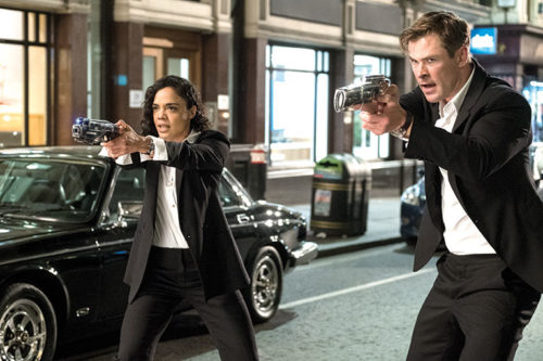 "Agent M (Tessa Thompson) and Agent H (Chris Hemsworth) in ""Men in Black: International."" (photo by Giles Keyte)"
