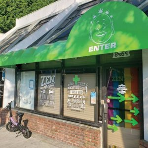 West Hollywood's cannabis dispensaries, like Zen on Santa Monica Boulevard, were given a temporary reprieve on June 17. (photo by Cameron Kiszla)