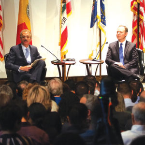 "Los Angeles City Attorney Mike Feuer hosted the first of a ""Conversations with Mike"" series with U.S. Rep. Adam Schiff. (photo by Luke Harold)"