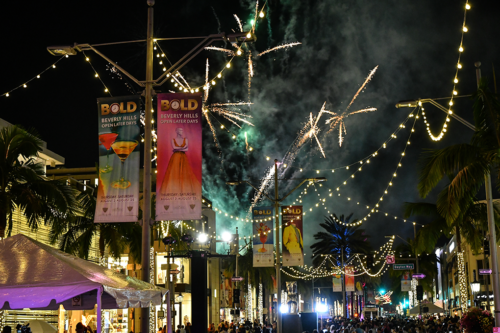 Fireworks go off over Summer BOLD, one of two programs held to extend shopping hours for businesses along Rodeo Drive and provide entertainment for shoppers. (photo courtesy of city of Beverly Hills)