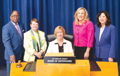 Los Angeles County Supervisor Janice Hahn (center) is leading an effort to investigate deputy cliques in the sheriff's department. (photo curtesy of the county of Los Angeles)