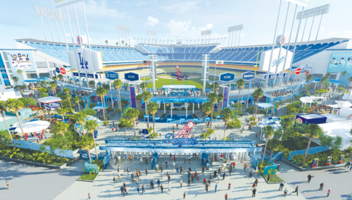 The Los Angeles Dodgers will create a new Centerfield Plaza with concourse viewing, as well as other renovations, at Dodger Stadium. (photo courtesy of the Los Angeles Dodgers­­­­­)
