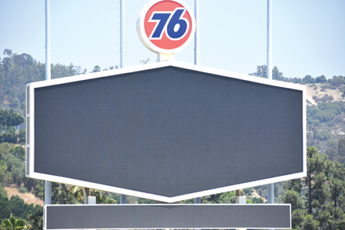 The Dodgers' first advertiser reappeared in Dodger Stadium earlier this month. (photo courtesy of the Los Angeles Dodgers)