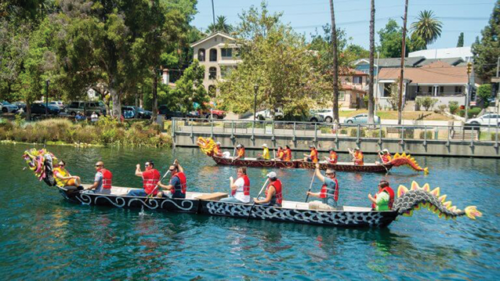 The Lotus Festival at Echo Park Lake includes dragon boat races, food, music and fun activities for all ages. (photo courtesy of the Los Angeles Parks Foundation)